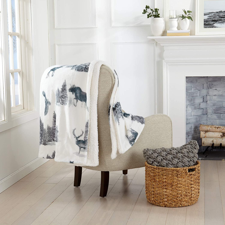 Decorative Holiday Throw Blanket. Super Soft Fleece Sherpa Holiday Throw Blanket. Hudson Collection (50