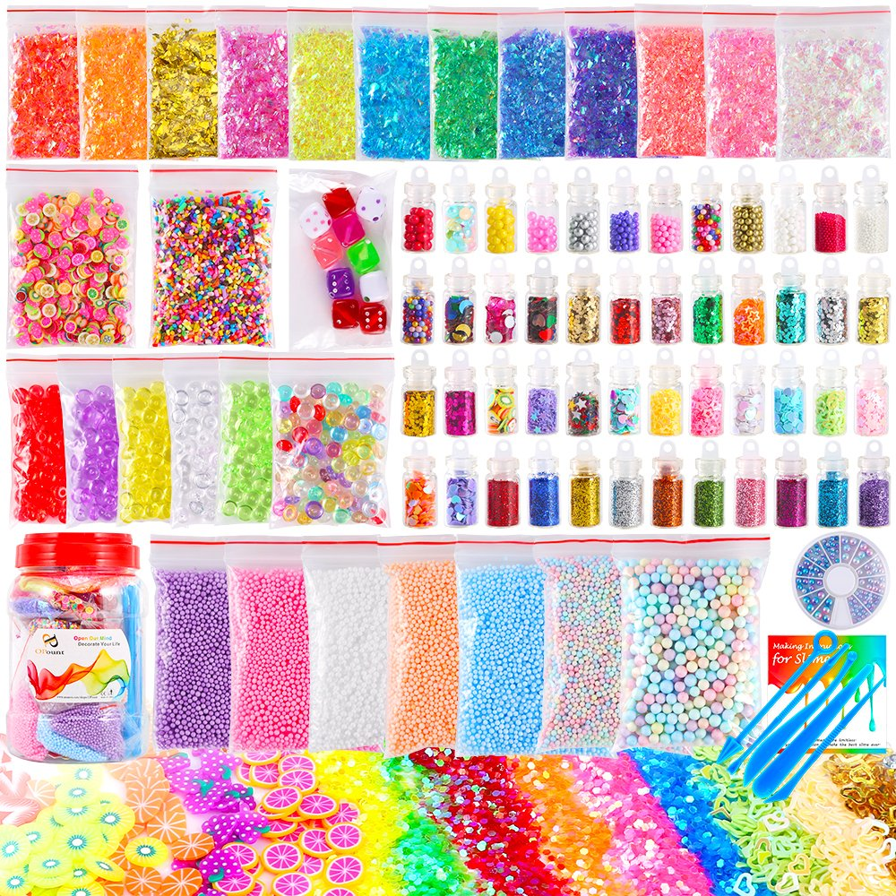 OPount 82 Pack Making Kit Supplies for Slime Including Foam Balls, Fishbowl Beads, Glitter Jars, Pearls, Fruit Slices, Sugar Paper, Candy Sweets Beads and Tools for DIY Slime Making(Not Contain Slime)  Sugar Paper PP OPOUNT OP-0152
