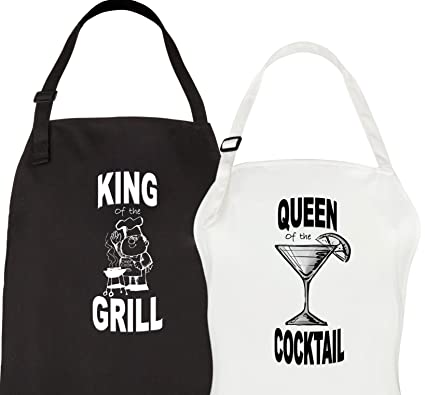 let the fun begin king queen aprons his hers wedding engagement gifts couples bridal