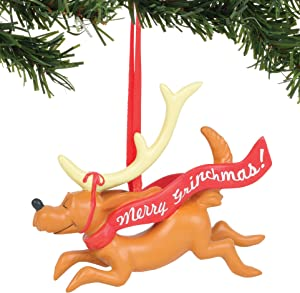 Department 56 Dr. Seuss The Grinch Max with Banner Hanging Ornament, 3.25 Inch, Multicolor