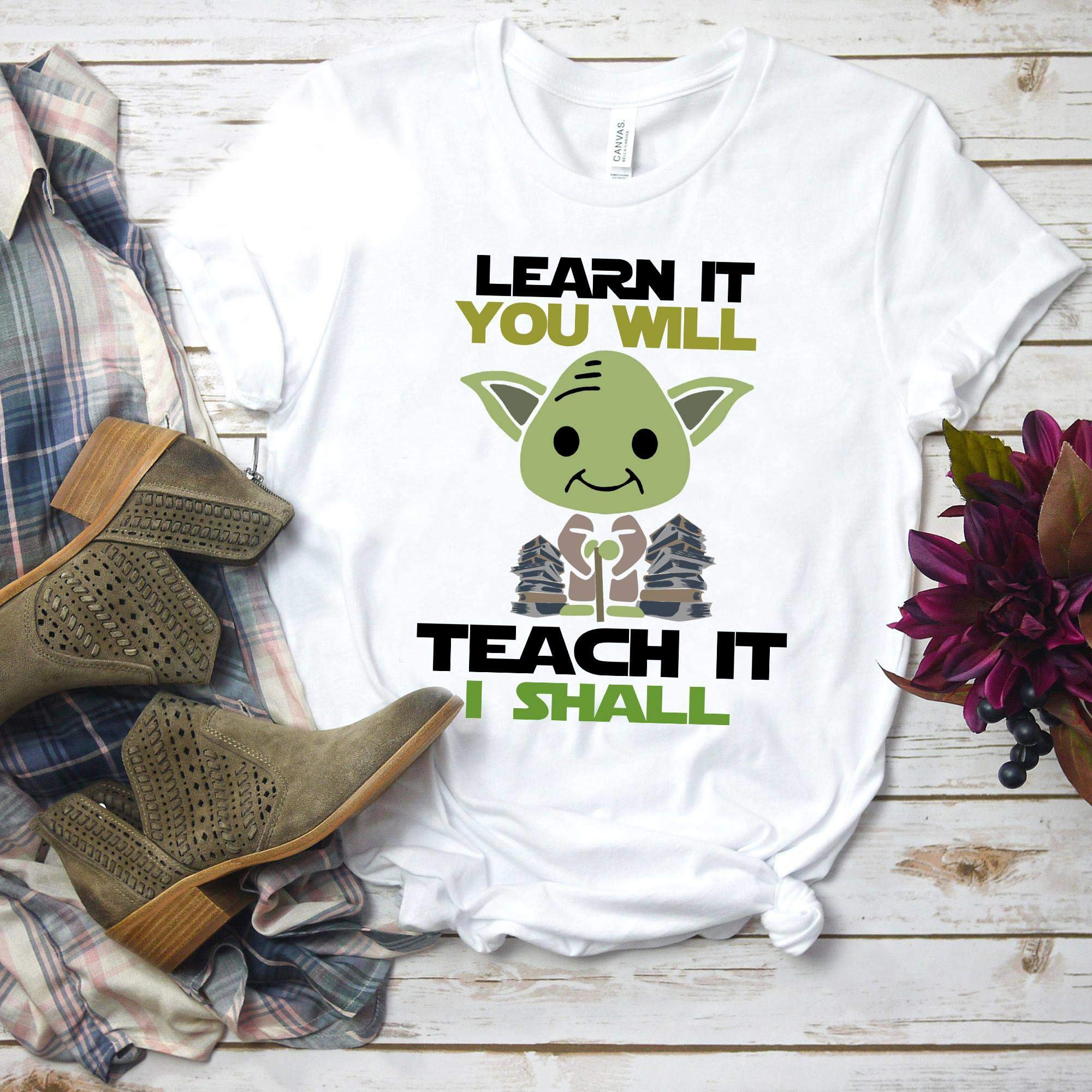 Yoda Learn It You Will Teach It I Shall Tea Funny Shirt Tshirts S S Longsleeve