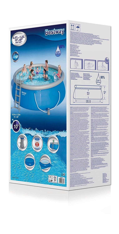 Bestway Fast Set Pool Set 457 x 122 cm con Bomba de Filtro y ...
