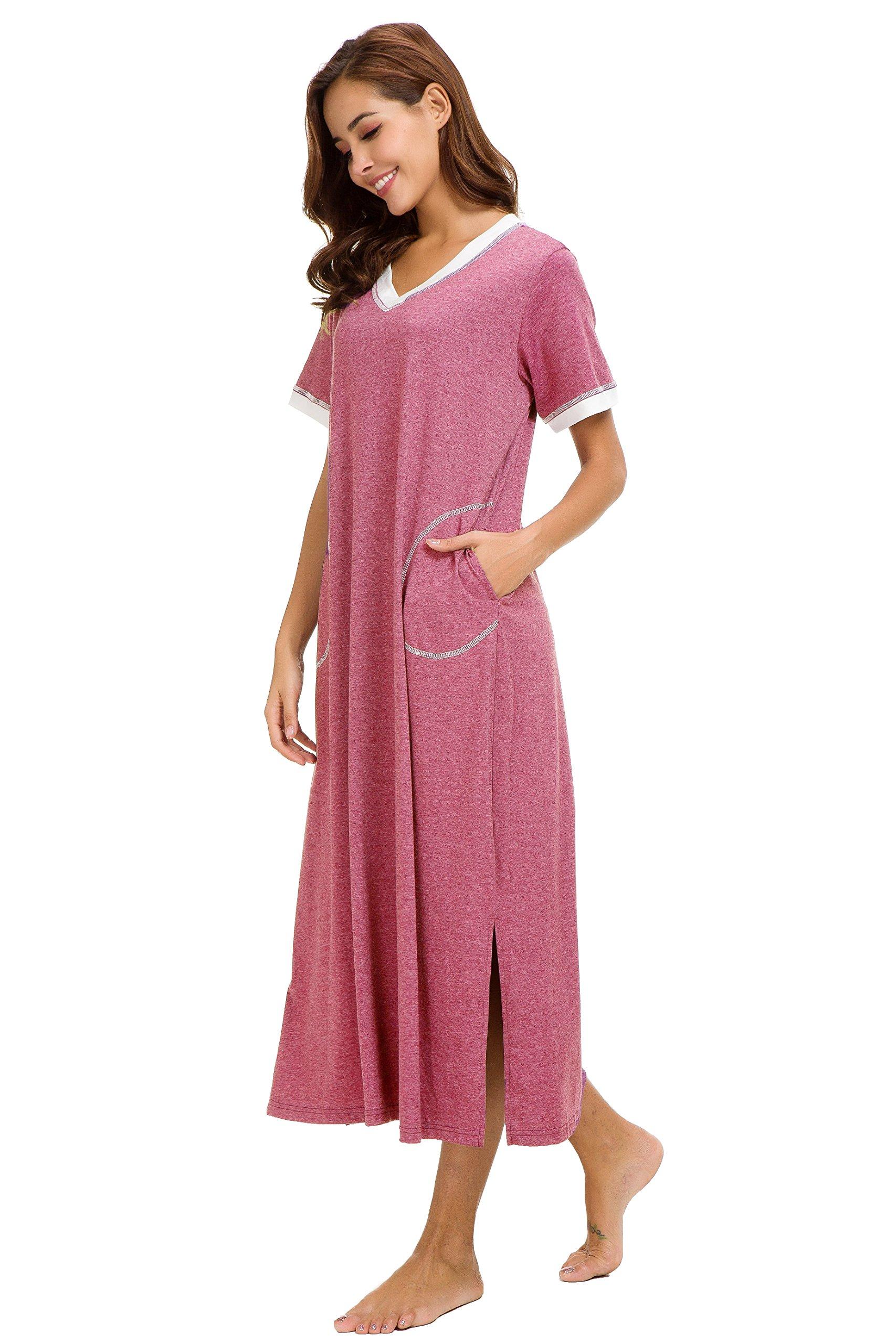 Aviier Supersoft Maxi Sleepshirt with Pockets, Nightgowns for Women Short Sleeve Cotton Nightshirts Sleepwear (XXL, Red) by Aviier (Image #4)