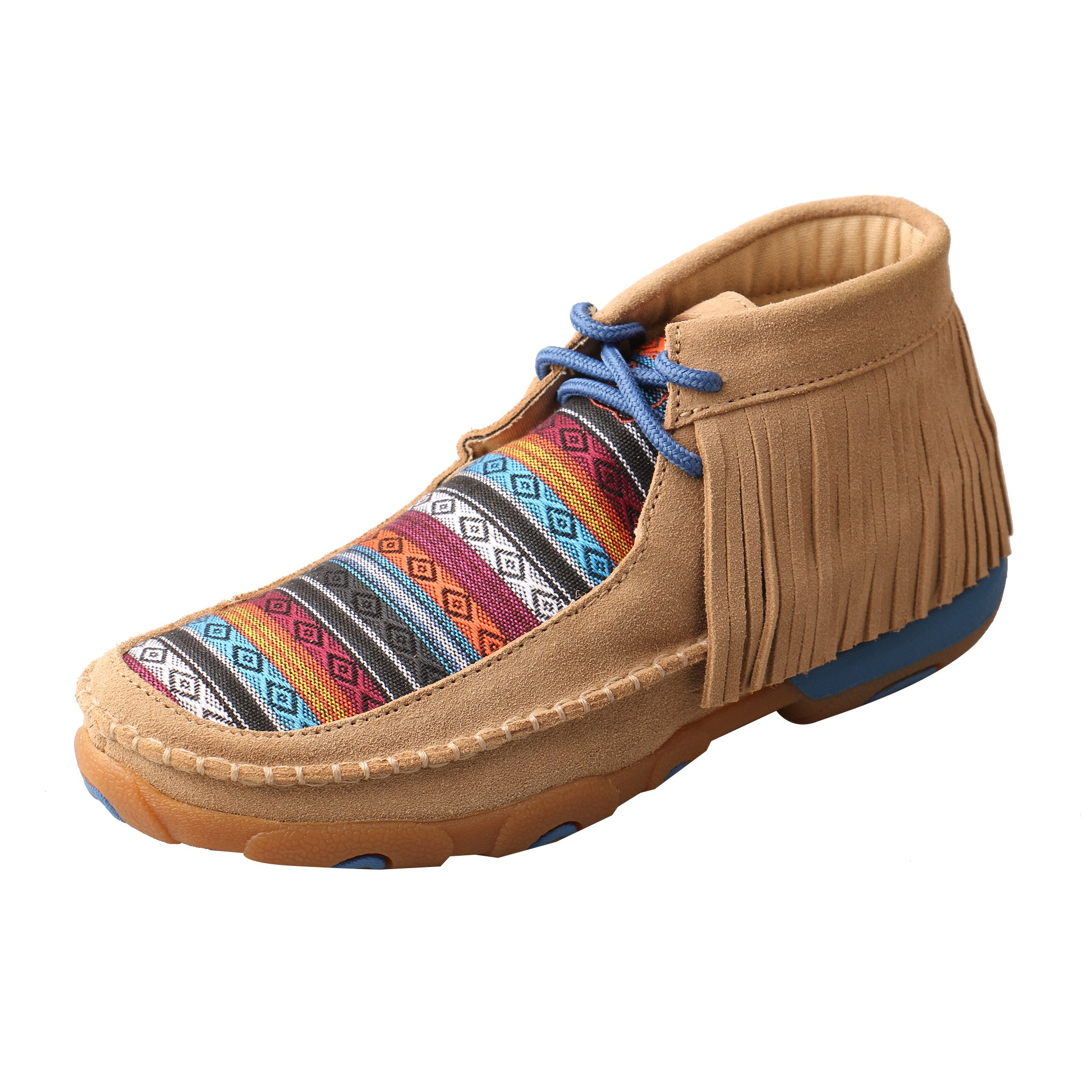 Twisted X Women's Leather Lace-Up Rubber Sole Driving Moccasins - Serape/Fringe
