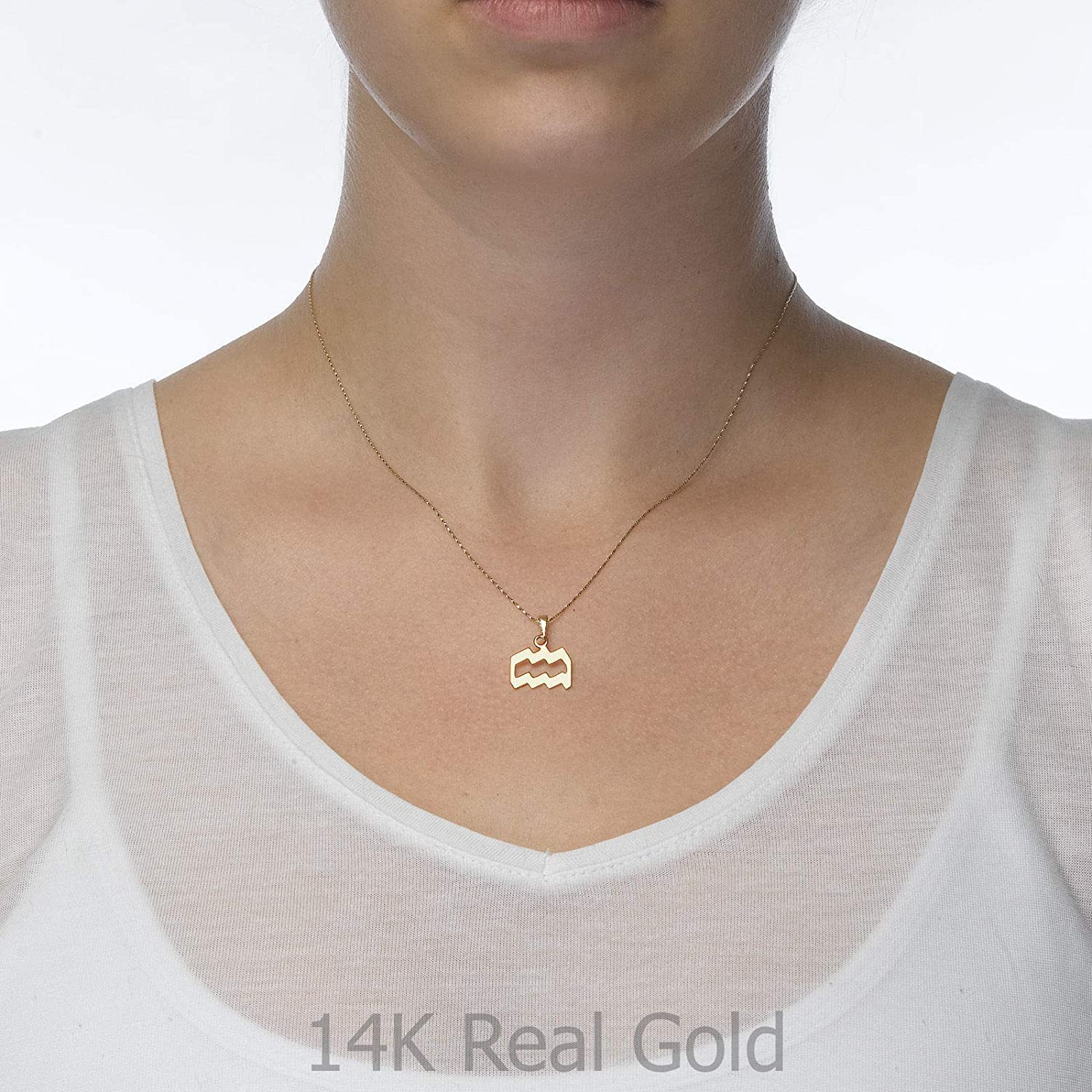 14K Yellow Gold Aquarius Pendant With Necklace