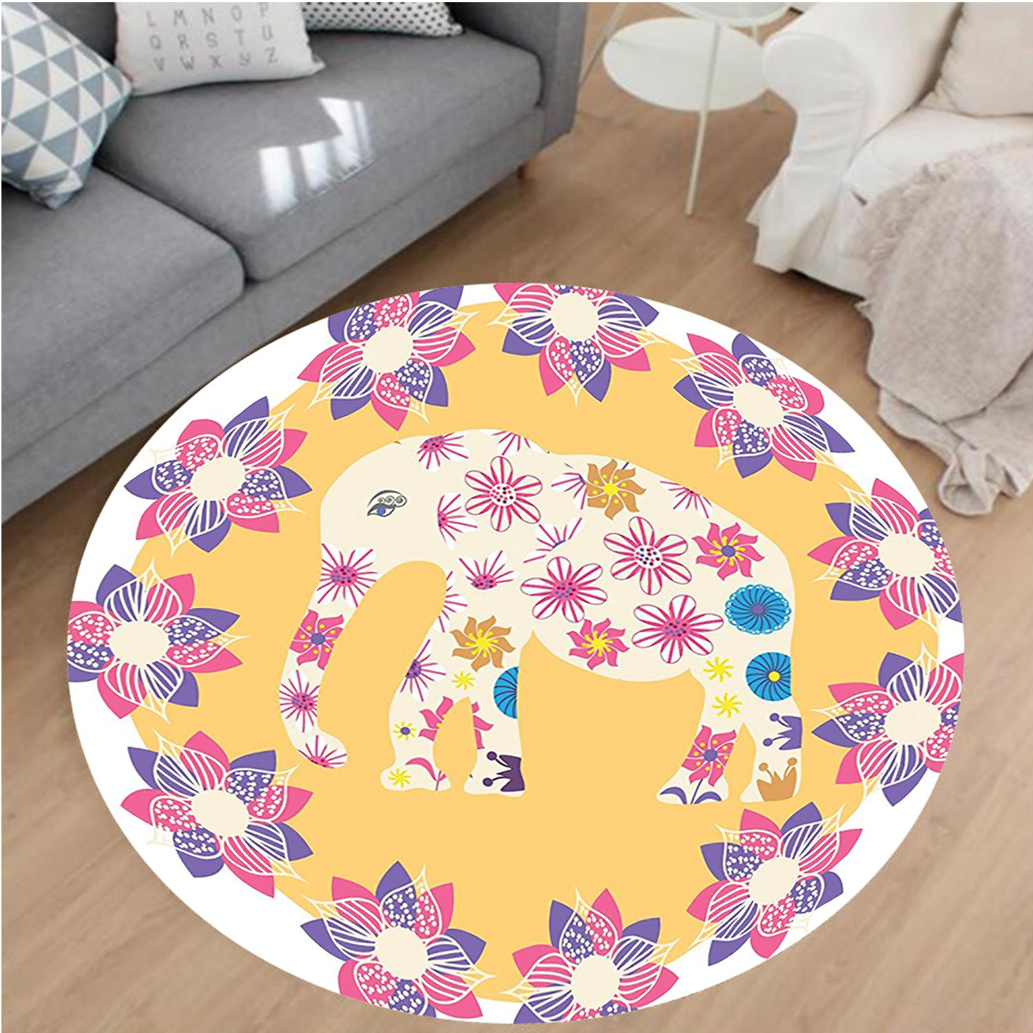 Nalahome Modern Flannel Microfiber Non-Slip Machine Washable Round Area Rug-Cartoon Thai Baby Elephant Kids Decor Colorful Natural Wildlife Animal Prints area rugs Home Decor-Round 79''
