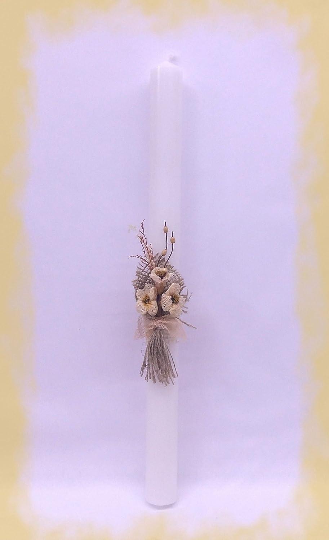 FIESTADEKOR Vela (CIRIO) para Bautizo DE Cera Blanca. Medida 3x40 CM Decorada con Pick Floral RÚSTICO Y Cinta ARPILLERA. (Personalizada) PLAS GRAFIC