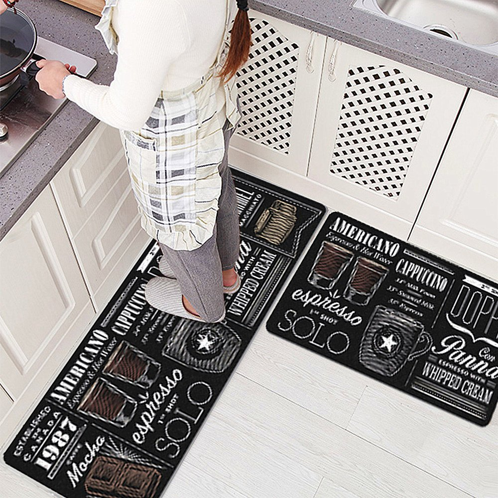 USTIDE 2 Pieces Set Smooth Rubber Non-Slip Kitchen Rug Runner Caffe Kingdom Waterproof and Oil Proof Area Rug and Carpet Doormat