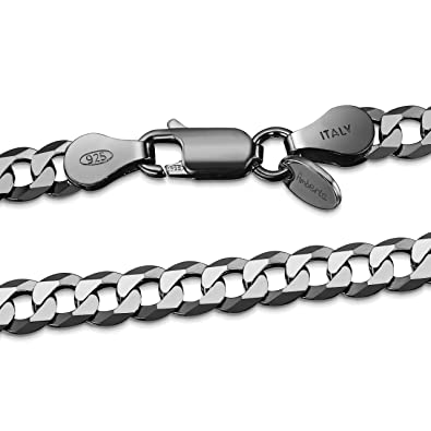 75f33aeb52bc27 Amberta Dark Rhodium Plated on 925 Sterling Silver Necklace for Men - Flat  Curb Cuban Chain