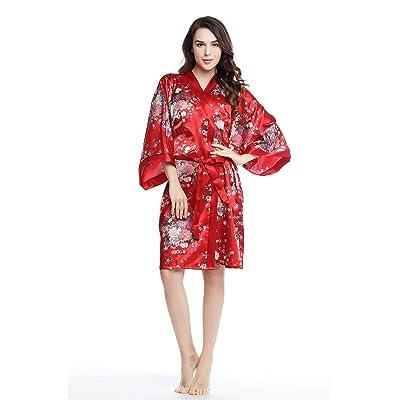 "ArtiDeco Robe de Chambre Kimono Femme Robe de Nuit Longue Floral Robe Longue Kimono Fille Chemise de Nuit Kimono 37""/94cm"