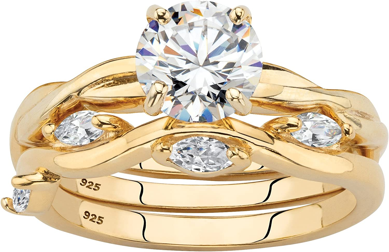 14K Yellow Gold over Sterling Silver Round and Marquise Cut Cubic Zirconia 2 Piece Twisted Vine Bridal Ring Set