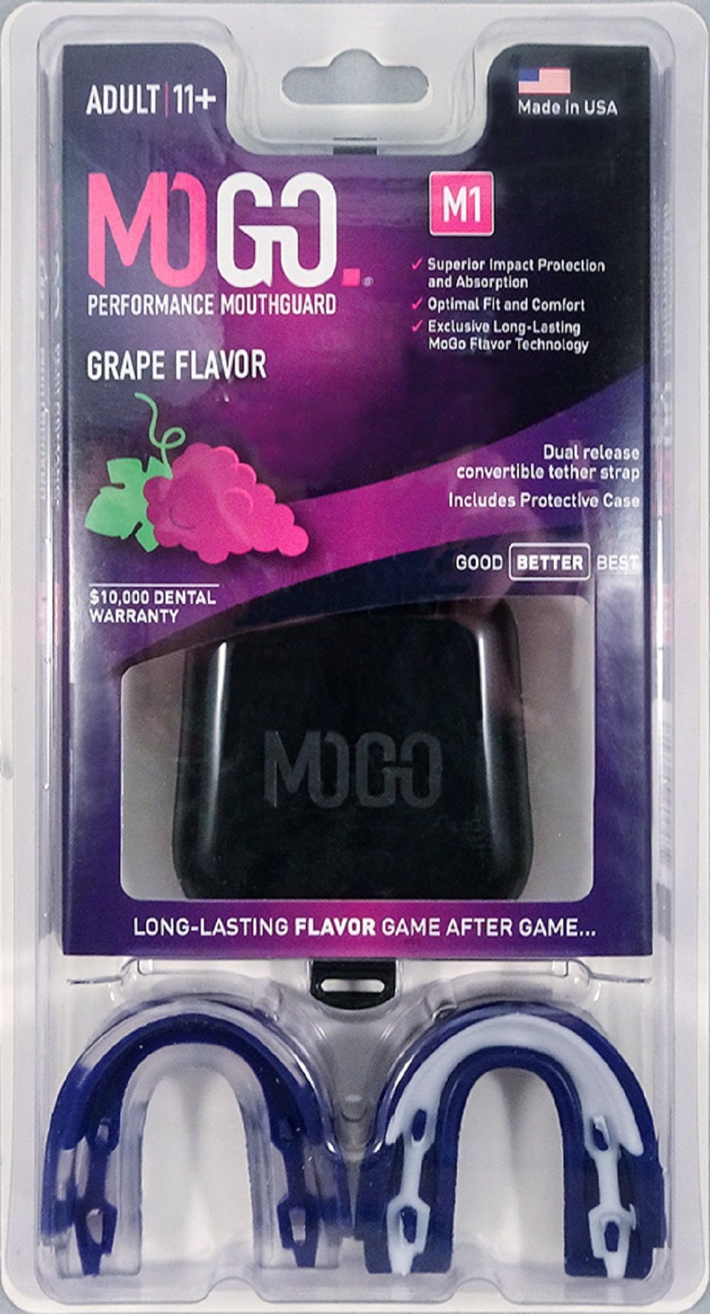MOGO. Flavored 2 Pack Mouth Guards - Adult Sports Mouthguard for Ages 11 and Up - Mouthpiece for MMA, Football and Lacrosse - Tether Strap, Fitting Instructions and Carry Case (Grape)