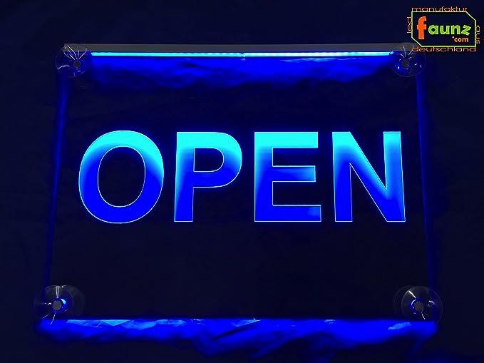 Open LED Cartel Azul Opaco sobre Transparente o su ...