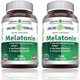Amazing Nutrition Melatonin for Relaxation and Sleep, 10 Mg, Pack of 2, 120 Tablets Each