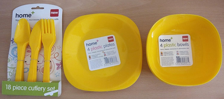 30 piezas Cubertería de plástico platos cuencos vasos Pastel Amarillo: Amazon.es: Hogar