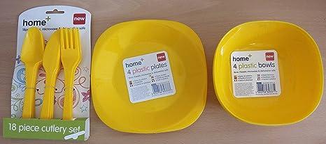 30 piezas Cubertería de plástico platos cuencos vasos Pastel Amarillo