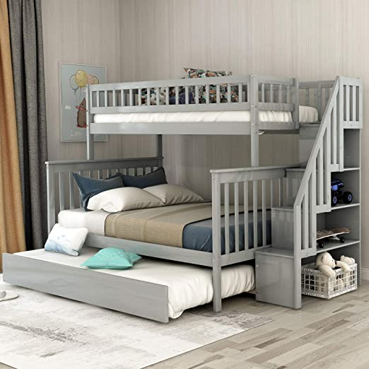 Twin Over Full Bunk Bed With Trundle And Stairs Weyoung Wood Stairway Twin Full Bed Frame With Storage And Safety Rails Gray Kitchen Dining