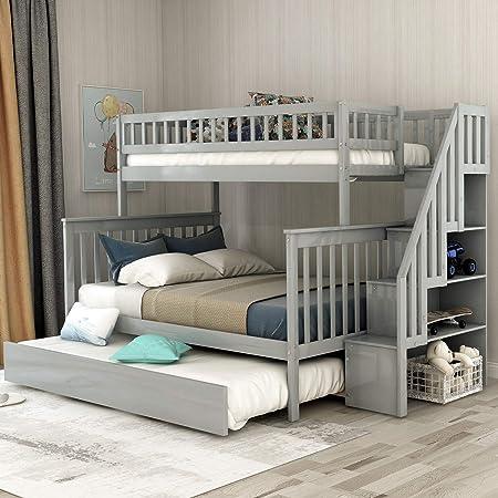 Litera de Escalera Completa para niños con 4 cajones de Almacenamiento en los escalones y una Cama Nido: Amazon.es: Hogar