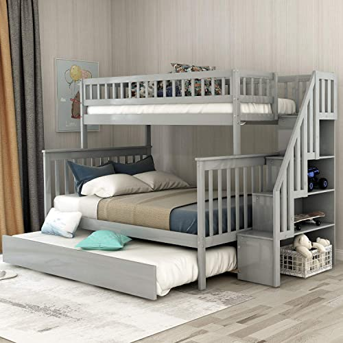 Full Stairway Bunk Beds Twin Over Full Size for Kids with 4 Storage Drawers in The Steps and a Trundle Grey