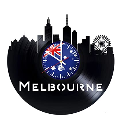 Amazon.com: Melbourne Vinyl Clock - Melbourne City Skyline Australia ...