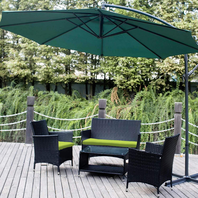 Leisure Zone 4 PCS Patio Furniture Outdoor Garden Conversation Wicker Sofa Set, Green Cushions