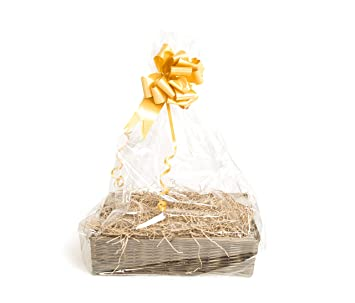 Your Gift Basket Blue Bow and Clear Gift Wrap Brown Willow Tray /& DIY Hamper Kit with Blue Shred 400 mm length x 300 mm wide x 100 mm high
