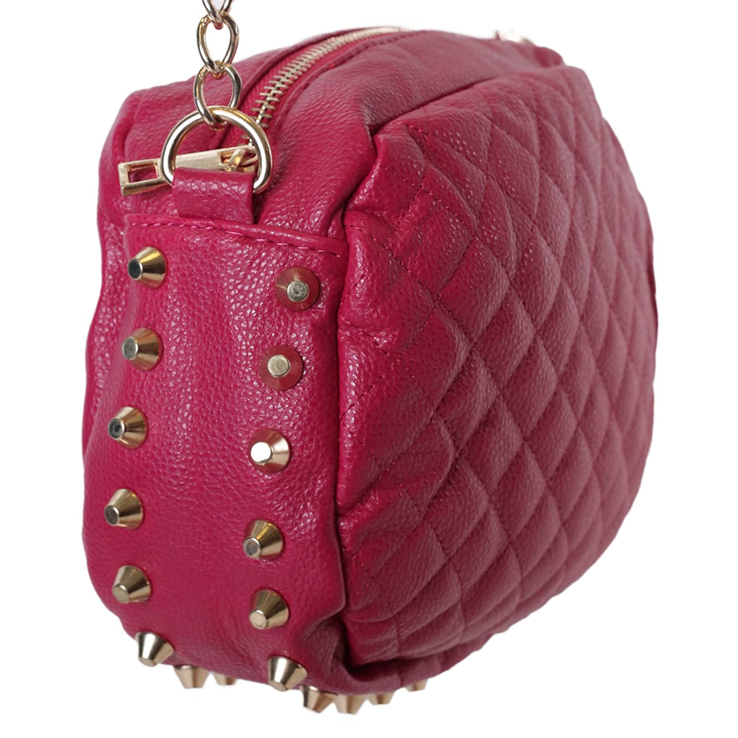 Leather quilted handbags and purses - Oval Quilted Faux Leather Crossbody Chain Strap Purse Bag W Gold Studs Fuchsia Handbags Amazon Com