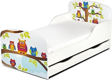 Leomark Cama Infantil Completa de Madera - Búhos - Marco de Cama, Colchón, Somier, cajón, Blanco Muebles para Niños, Moderno Dormitorio, Impresa ...