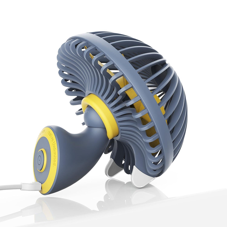 ibohr Small USB Desk Fan for Kids, Personal Cooling Fan Quiet Fan for Office & Desktop (2 Speed, Gray) DF01A