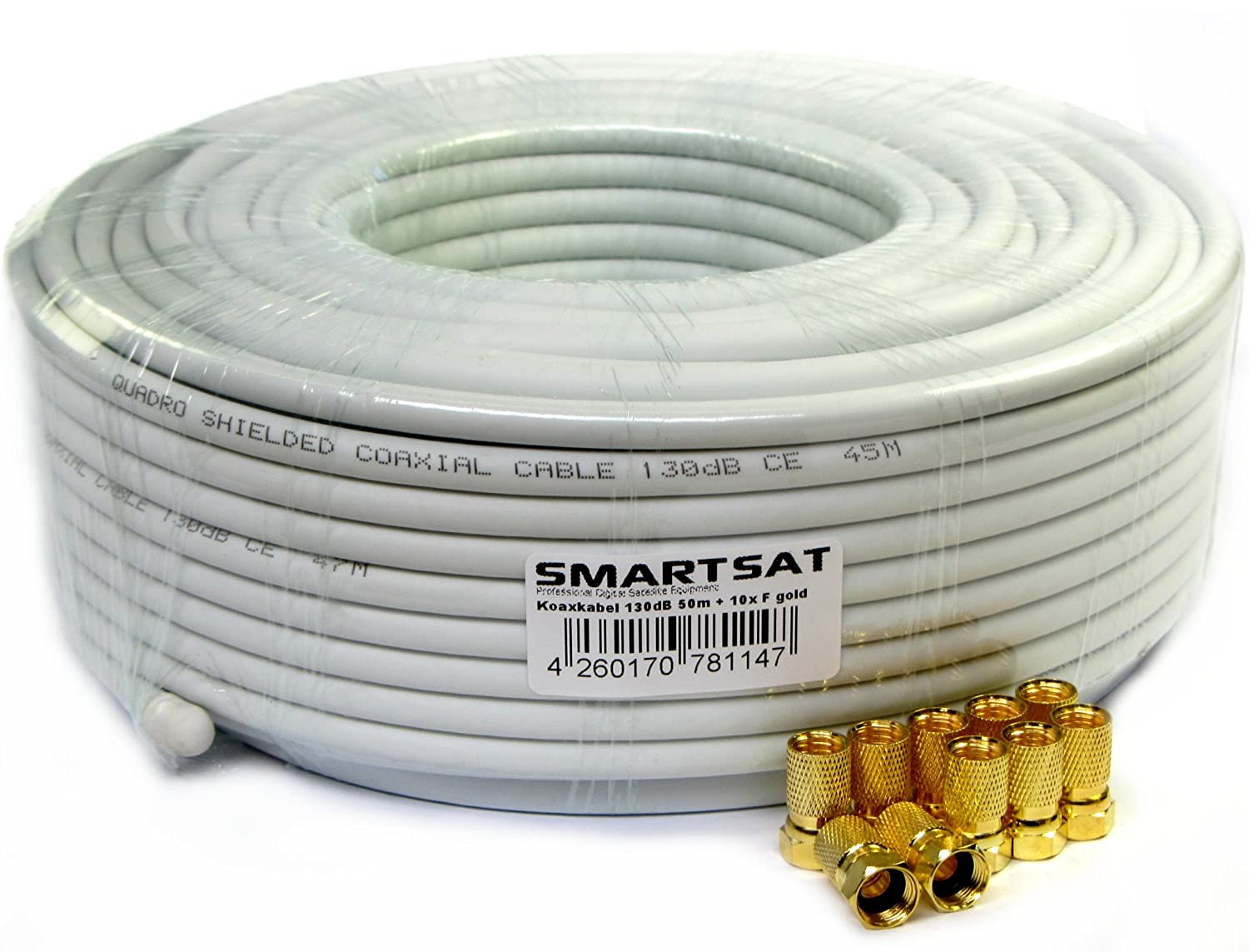 Smartsat 10 m SAT-conexión-Kit, SAT-Cable 4 x F-connettore, de protección de 2 x, 1 x pelador de Basic HDTV, UHD y 3D salubres: Amazon.es: Hogar