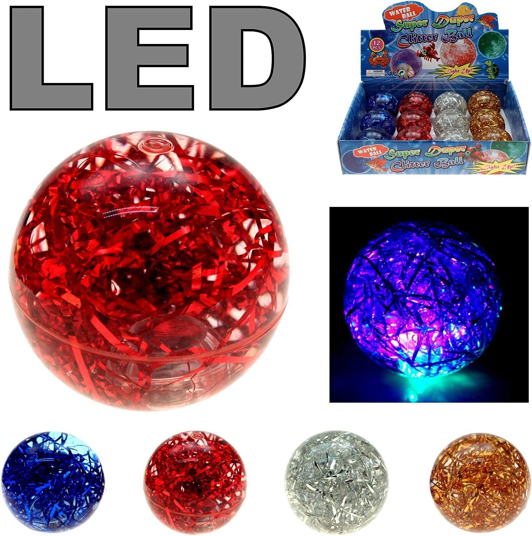 Krüger&Gregoriades LED flummi pelota de goma Glitter Agua ...