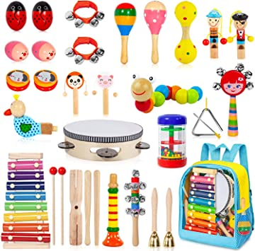 6 VWMYQ Musical Toddler Musical Instruments Toys 8 Types for Kids Wooden Percussion Instruments Preschool/& Educational Music Toy for Boys and Girls