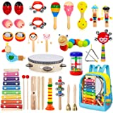 TAIMASI Kids Musical Instruments, 33Pcs 18 Types Wooden Percussion Instruments Tambourine Xylophone Toys for Kids Children, P