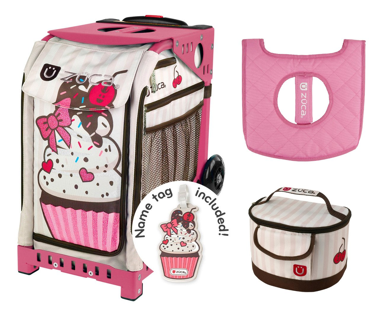 Zuca Sport Bag - Sprinklez with Gift Lunchbox and Seat Cover (Pink Frame) by ZUCA