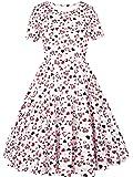 SATINIOR Women's Happy Valentines Day Dress Heart Print Dress Short Sleeve Flared A Line Dress