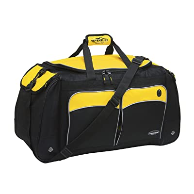 "28"" Adventure by Travelers Club Luggage Multi-Pocket Weekender Duffel with Adjustable & Detachable Shoulder Strap, Mesh Water Pocket, and Spacious Packing Compartment, Yellow and Black Color Option"