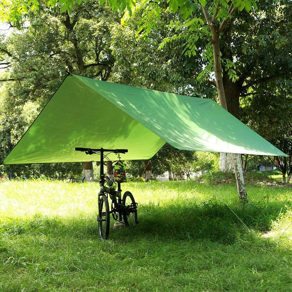 Viajes 300 x 300 cm port/átil para Senderismo Toldo Impermeable para Tienda de campa/ña para Exteriores Resistente al Viento Playa Color Verde Ligero Lawei Camping