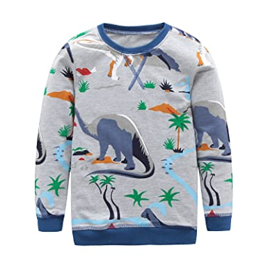 00db06200a3 Boys Cotton Long Sleeve T-Shirts T Rex Dinosaur Shirt Graphic Tees