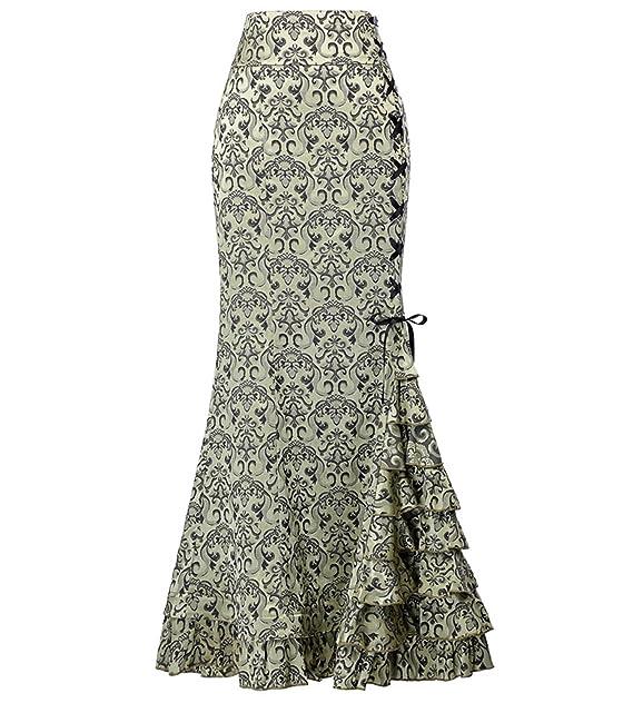 7432f1a3c2 GK Vintage Dress Steampunk Aristocrat Victorian Goth Banquet Party Skirt  for Women Light Green Size 4