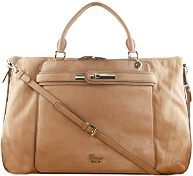 Guess Cheyanne Women s Faux Leather Extra Wide Overnight Bag Tan Beige   Amazon.co.uk  Shoes   Bags dc70ae337783e