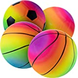 Bedwina Rainbow Sports Balls - 6 Inch (Pack of 4) Inflatable Vinyl Balls for Kids and Toddlers Includes Neon Basketball…
