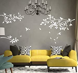 ALiQing Family Tree Branches Wall Decal with Birds Removable Vinly Wall Stickers for Home Décor (White)