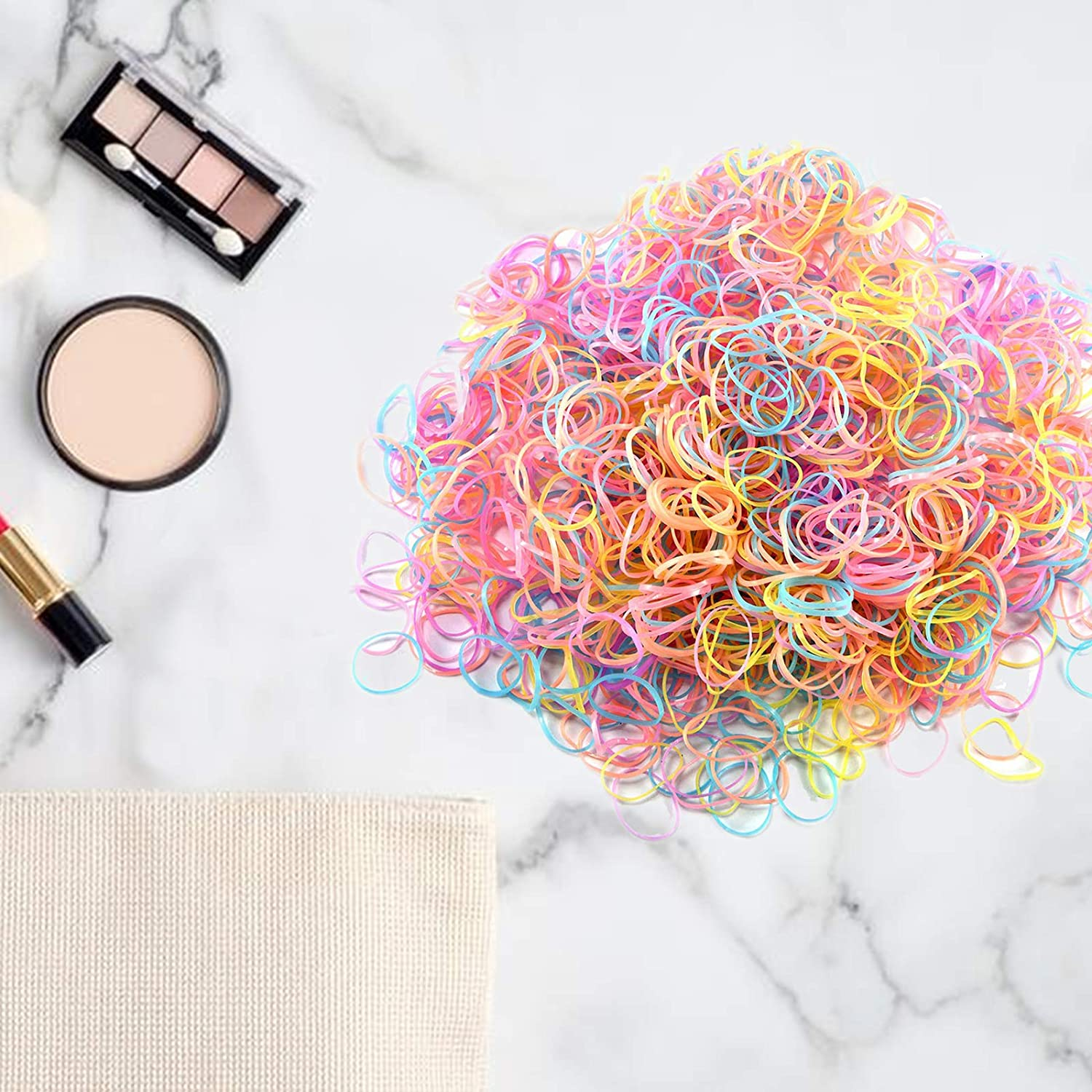 Molizummy 1500PCS Hair Ties, Color Elastic Rubber Hair Bands for Women Baby Girls Toddlers, Soft Fashion Hair Styling Accessories Ponytail Holders : Beauty
