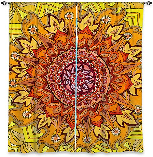 Dia Noche WCURachelBrownRevelationMandala6 Unlined Window Curtains, 80W x 82H in