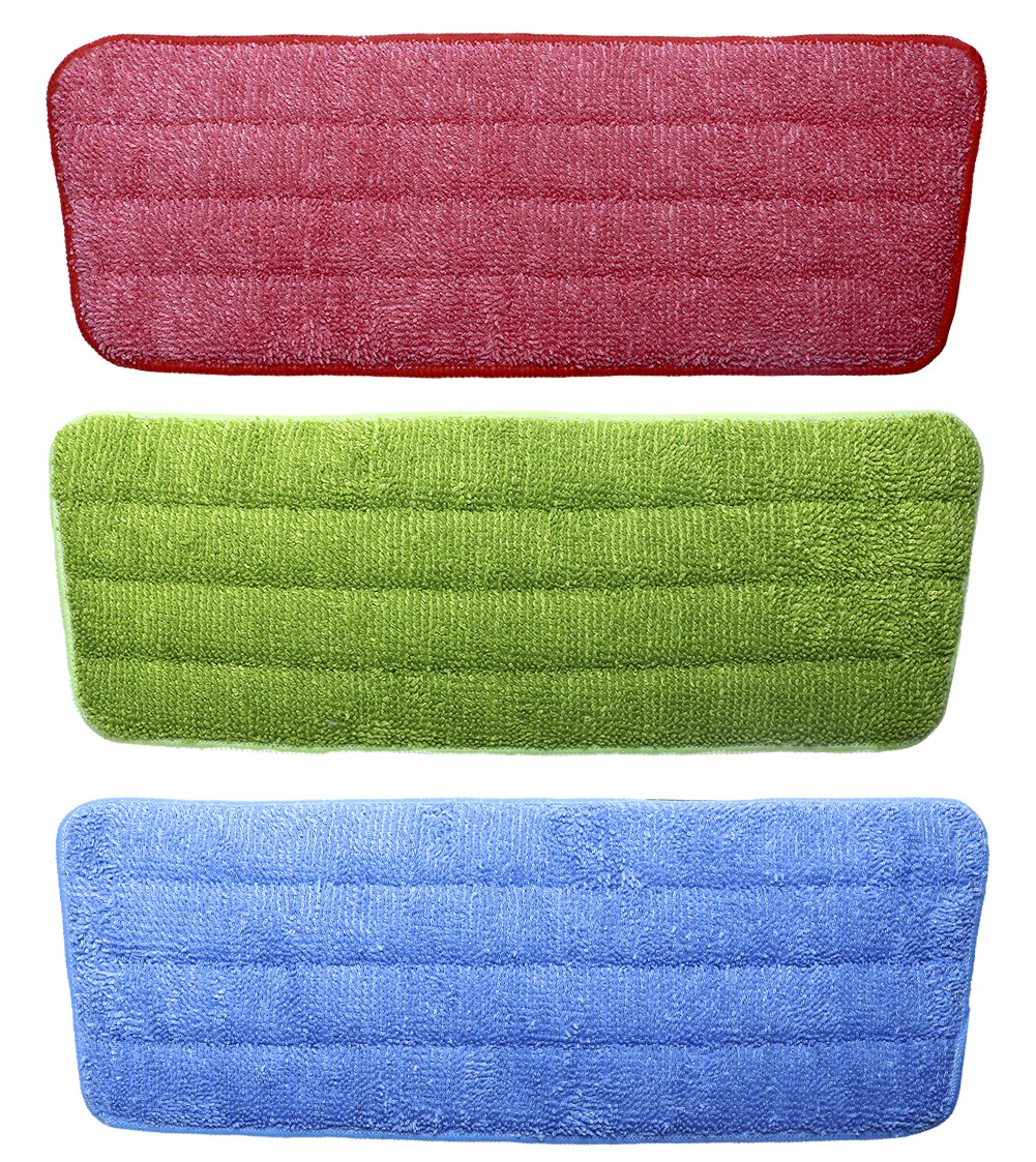 Shapenty 3 Colors Flat Microfiber Spray Mop Pads Refills Replacement Washable Dust Mops for Wet Dry Hardwood Floor Cleaning, 3 Pack by Shapenty (Image #1)