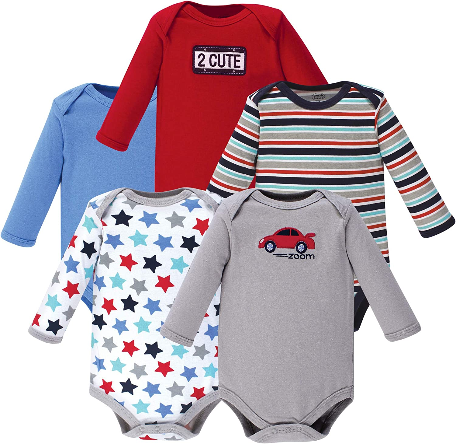 Pack of 5 Luvable Friends Baby Boys Long Sleeve Bodysuits