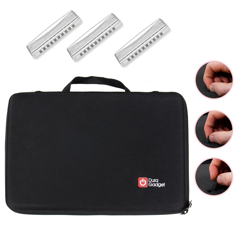 DURAGADGET Mallette rigide de rangement personnalisable pour ranger votre collection d'harmonicas et accessoires