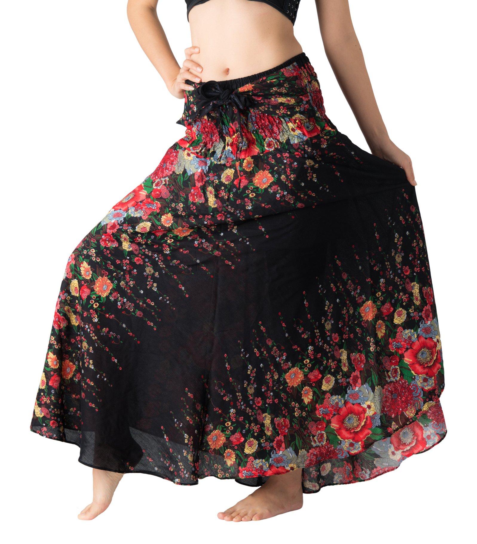 Bangkokpants Women's Long Hippie Bohemian Skirt Gypsy Dress Boho Clothes Flowers One Size Fits (Black Flowers, One Size)