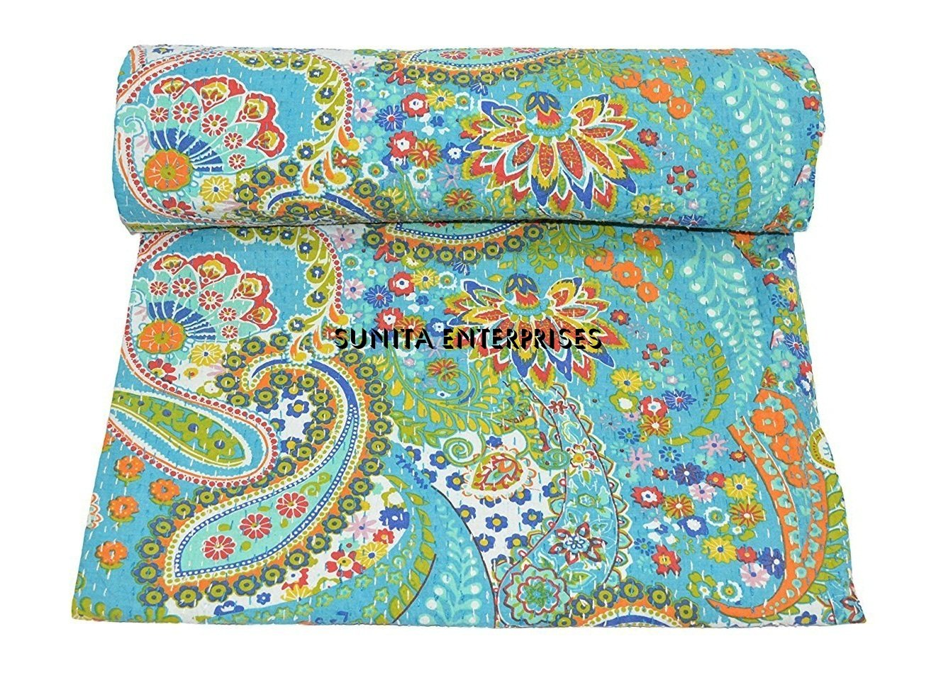 Twin Kantha Quilt Indian Paisley Bedspread Bedding Gudari Throw Kantha Blanket Quilts, Bedspreads & Coverlets Home & Garden