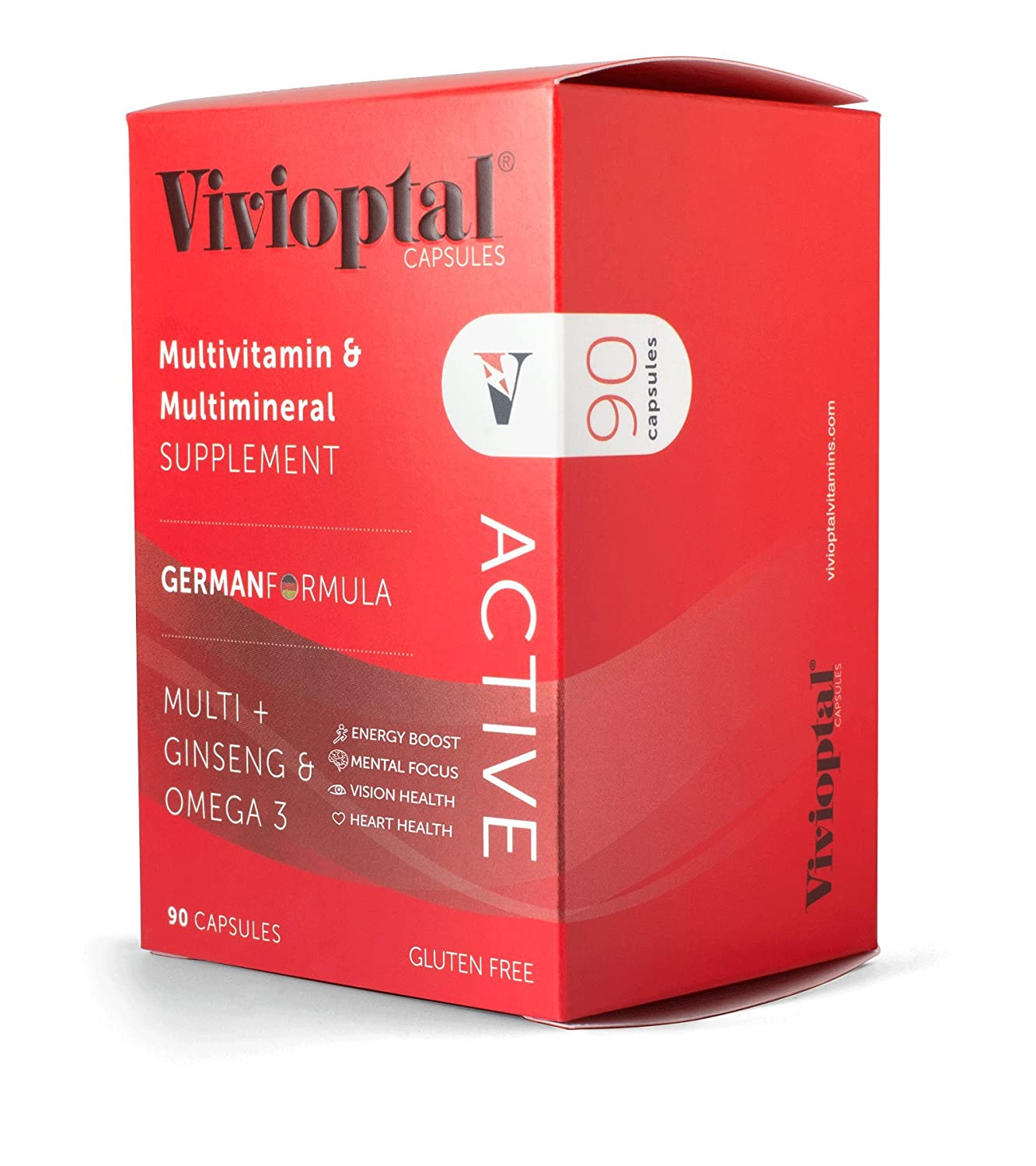 ViVivioptal Active 90 Capsules – Multivitamin Multimineral Supplement – Ginseng Omega 3